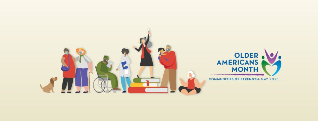 Graphic with active older people and Older Americans Month logo